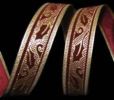 "9 Yards Christmas Gold Burgundy Dark Red Velvet Leaf Wired Ribbon 7/8""W"