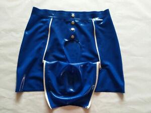 100%Latex Shorts Rubber Swimwear Fitness Boxer Nevy Blue Zentai Pants 0.4mmS-XXL