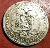 Venezuela 5 Bolivares  1904 Plata Fuerte de Simon Bolivar @ Bella @