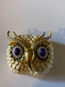 KJL Signed KENNETH J. LANE Enamel and Crystal Gold Tone Snowy Owl Brooch Pin