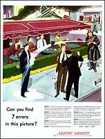 1947 Sidewalk Cafe Fireman Police 7 Error Arrow Shirt vintage art Print Ad adL60