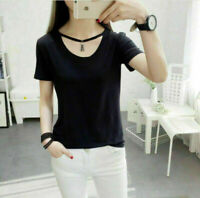 Hot Casual Loose Tops Blouse 2017 Women Hollow Round Neck Short Sleeve T-Shirt