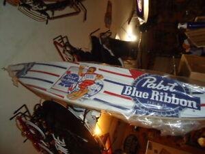 MINT UNUSED PABST BLUE RIBBON WOOD SURFBOARD 4 FOOT PBR GREAT MAN CAVE MUST