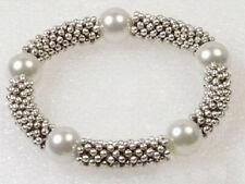 10mm White Shell Pearl Tibetan Silver Stretchy Women Lady Girl Bangle Bracelet