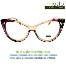 MIASTO BIG CAT EYE COMPUTER READER READING GLASSES +2.50 FLOWERS~ANTI-BLUE LIGHT