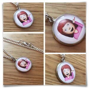 Emoji face girl whatever caj casual Charm pendant necklace txt geek