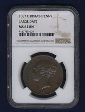 GREAT BRITAIN VICTORIA 1857 PENNY, UNCIRCULATED, CERTIFIED NGC MS62-BN