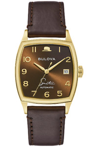 NEW BULOVA FRANK SINATRA YOUNG AT HEART AUTO GOLD PLATED TONNEAU CASE 97B198