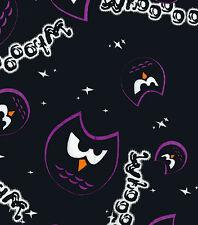 Fabric Owl Whooo Purple on Black Flannel 1/4 Yard