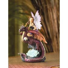 COLOR CHANGING purple Fairy princess riding Dragon Statue LED night light lamp