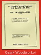 """CRAFTSMAN 103.0803 6"""" Belt & Disc Sander Owner's Parts Manual 0789"""