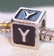 Alphabet Letter Y Cube Black Enamel Initial Charm for European Bead Bracelets