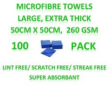 New 100 Microfibre Towels - Extra Large Cleaning Cloths 50cm x 50cm 260GSM