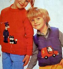 "1526 Boys Girls 20-28"" DK Postman Pat Sweater Jumper Vintage Knitting Pattern"