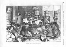 Shelling Peas in Covent Garden Market   -   1870  Antique Print