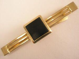 -Matte Black Stone & Gold Tone Vintage ANSON Tie Bar Clip