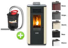 Stufa a pellet  ad aria ventilata 8,24 kw per riscaldamento casa ed aspiracenere