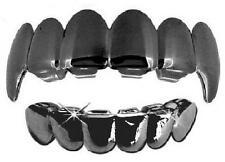Hip Hop Gun Metal Mouth Teeth Grills Grillz Upper & Lower Set New - Fangs