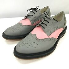 Inch Shoes Ladies UK 6 EU 39 Grey Pink Lace Up Formal Brogues Work Flats 351026