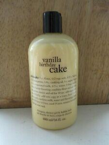 Sealed New Philosophy Vanilla Birthday Cake Shampoo Shower Gel Bubble Bath 16 oz