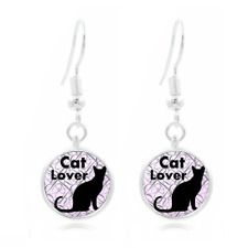 Cat Lover glass Earrings Art Photo Tibet silver Earring Jewelry #92