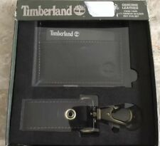 NEW IN BOX TIMBERLAND BLACK LEATHER CARD CASE  & KEY FOB, EAR BUDS HOLDER SET