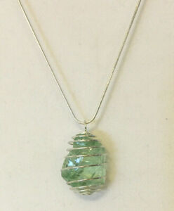 """Andara Crystal Pendant Necklace Caged """"Aqua Serenity"""" 18"""" Silver Chain ✨"""