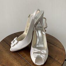 Stuart Weitzman White Satin Bride Wedding Bridal Peeptoe Stiletto Bows 7