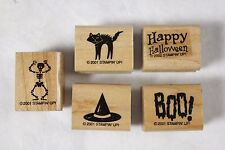 Lot of 5 Stampin' Up Halloween Wood Mounted Rubber Stamps Cat Witch Hat Skeleton