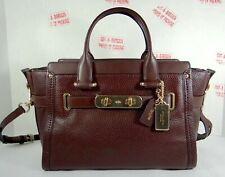 Coach Swagger OxBlood Pebbled Leather Carryall Satchel Crossbody Bag 34408