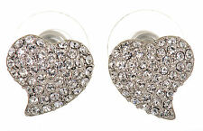 Swarovski Elements Crystal Heart Alana Pierced Earrings Rhodium Plated 7118x