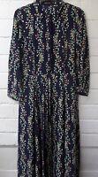 Women Ladies New Long Maxi Navy Floral Split Collared Shirt Dress UK 8-16 6031