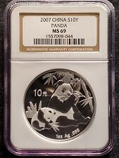 2007 China Panda - 1 oz Silver 10 Yuan - NGC MS 69