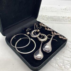STERLING SILVER Earrings Job Lot of Five Pairs Dangly Hoops Etc Pierced Bundle