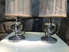 1930s-40s VINTAGE Pair CHASE ERA Table Lamps ART DECO Machine Age chrome & glass