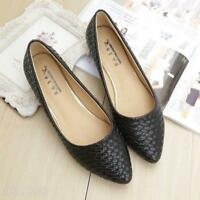 Womens Elegant Pointy Toe Leisure Flats Loafers Shoes Slip On Faux Leather