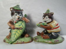 Vintage Norcrest Animals Playing Instuments in Forest Figurines - Set of 2