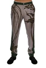 NEW $1200 DOLCE & GABBANA Pants Gray Leaves Print Silk Dress Formal IT54 / W40