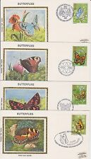 GB COLORANO SILK FIRST DAY COVER SET 1981 BUTTERFLIES SPECIAL CANCELLATIONS