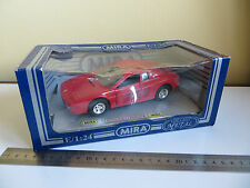 Rare MIRA Red Diecast Metal Ferrari Testarrosa Sports Toy Model Car 1:24 & Box