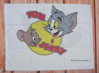 VTG 80s Tom & Jerry Pillow Cover Case White Cat Mouse Character Cartoon