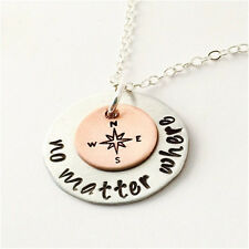 Rose Gold and Silver Plated Compass Design Pendant No Matter Where Necklace