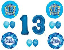 Blue 13TH THIRTEENTH Teenager Boy Happy Birthday Balloons Decoration Supplies