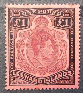 Leeward Islands 1938 King George VI 1Poud brown/black, Mi #105A CV=EUR250 used