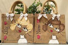 3 x Personalised Jute Bag Bridesmaid Flower Girl Gift 22cm x 22cm