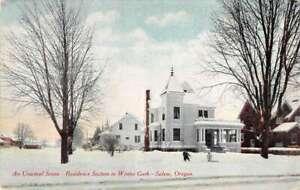 Salem Oregon Winter Garb Residence Section antique postcard G