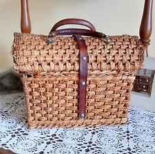 Vintage Rattan Trunk, Large Wicker Basket, Picnic Storage, Leather handle