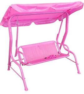 Childrens Outdoor Indoor Swing Chair Hammock Canopy Two Seater Kids Swing Pink