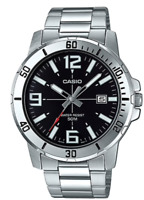 Casio Watch   MTP-VD01D-1B  Steel band  50m  Men's Black Dail+Casio Envelope