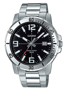 Casio Watch   MTP-VD01D-1B  Steel band  50m  Men's Black Dail+Casio Envelope